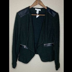 H&M Knitted Jacket Faux Leather